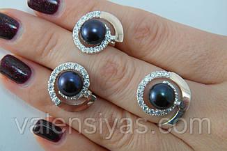 Ювелирные украшения кольцо и серьги с жемчугом, фото 3