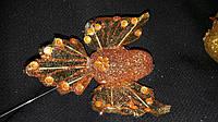 Красивая птичка оранжевого цвета на проволке, пенопласт, длина 40 см., 20/15 (цена за 1 шт. + 5 гр.)