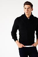 Мужской свитер De Facto черного цвета в рубчик вязку