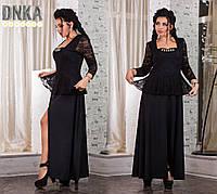 Черное платье с баской+ гипюр, батал. Арт-9052/9