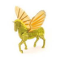 3D пазл из гофрокартона KAWADA D-torso Пегас зелено-желтый 4580238619282
