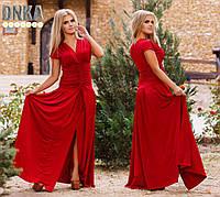 Стильное красное платье в пол со струящегося трикотажа. Арт-9053/9
