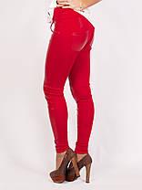 Брючные лосины  красные, комбинация кожа и дайвинг, фото 2