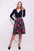 Платье с темно-синим верхом и цветастой юбкой сукня Валеджи д/р