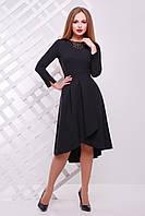 Черное платье с юбкой со складами на запах сукня Лика д/р