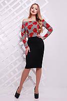 Платье с цветастым верхом и черной юбкой сукня Такома д/р