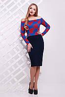 Женское платье с цветастым верхом и синей юбкой сукня Такома д/р