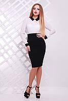 Офисное платье с белым верхом и черным низом сукня Флоренс д/р