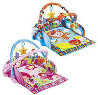 Детский коврик с игрушками JL6200-1A-1C: 2 вида, 5 игрушек-пищалок, 2 дуги, коробка 58х45,5х8 см
