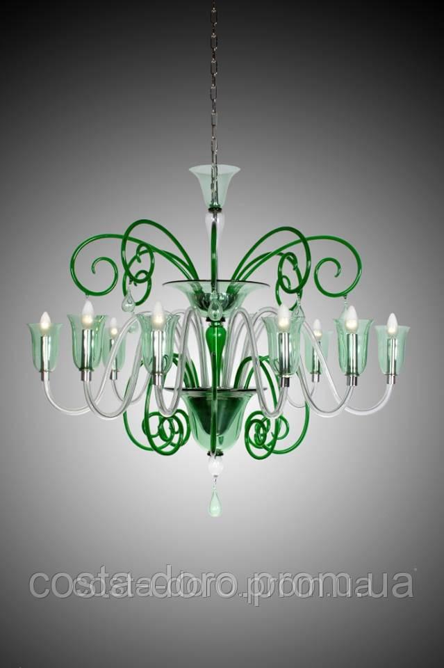 Люстра из зеленого стекла Gabbiani