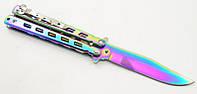 Нож бабочка (балисонг) Хамелеон радуга 1046T2 + клипса MHR /87-5, фото 1