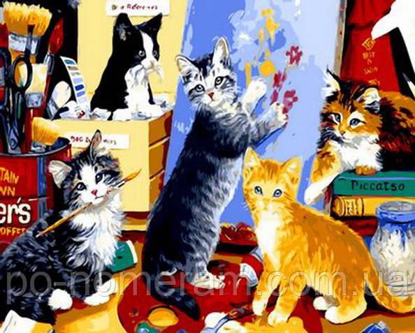 Раскраска на холсте Mariposa Котята художники (MR-Q885)