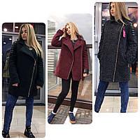 Пальто - косуха из кашемира букле на утеплителе со вставками из экокожи разные цвета Gm38