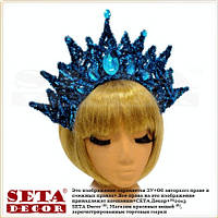 Корона Царица на обруче голубая с вензелями новогодняя