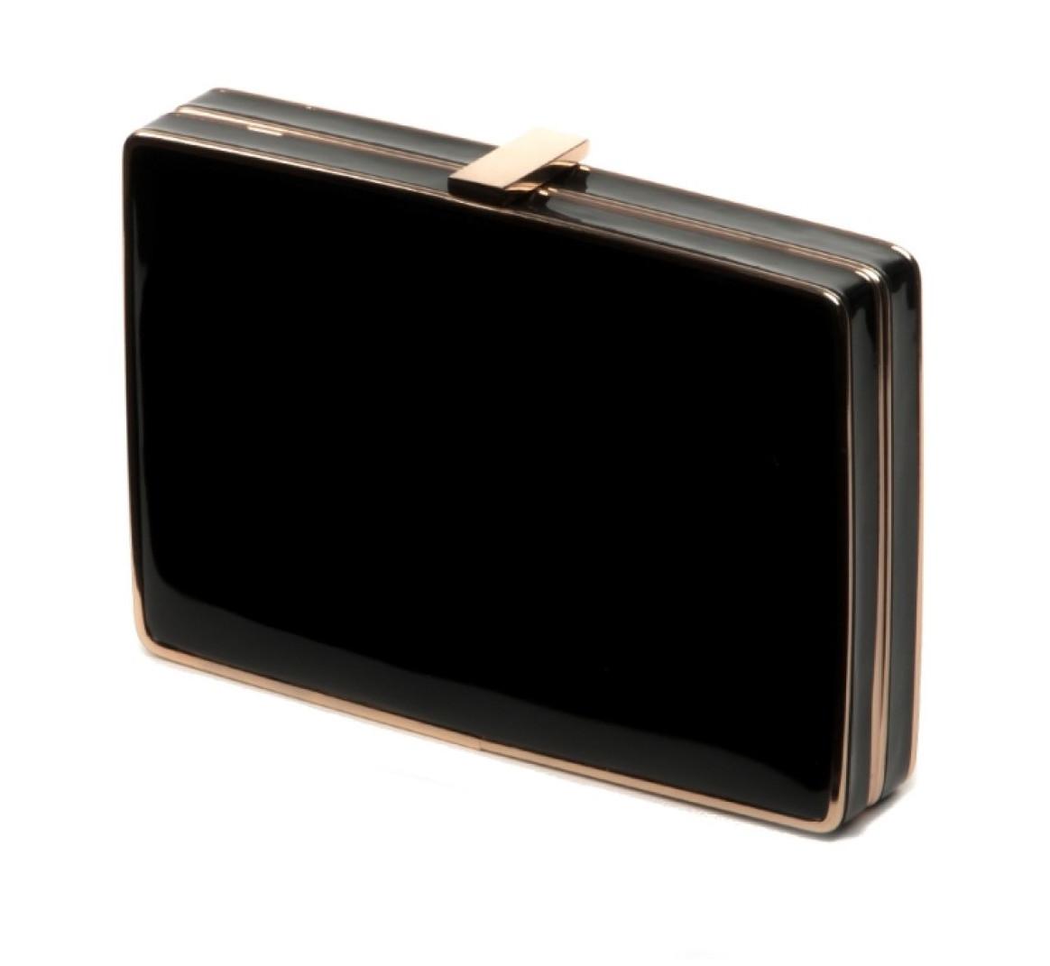 aa511c2c24f2 Клатч-коробка женский черный лаковый Rose Heart - Интернет магазин