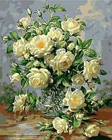 Раскрашивание по номерам. Букет белых роз