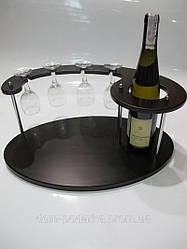SS07267 Роскошный винный набор из дерева на подставке с 4 бокалами