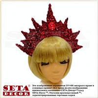 Корона Царица на обруче красная с вензелями новогодняя