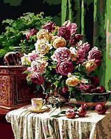 Картина раскраска по цифрам. Бордовые розы и гранаты