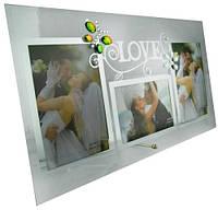 Фото рамка из стекла на три фотографии,400х220х5