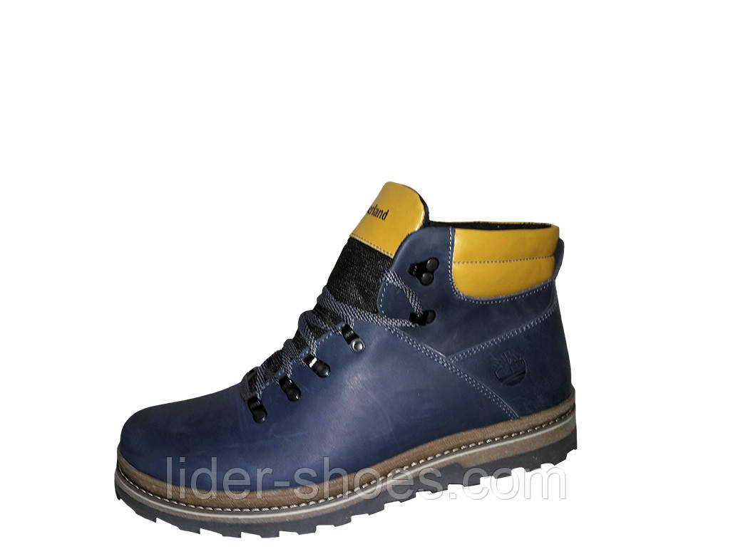 Мужские зимние ботинки в стиле Timberland синего цвета