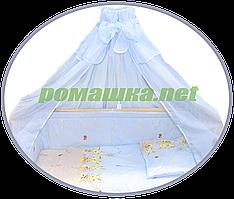 Балдахин из вуали с бантом в детскую кроватку, 450х150 см ТМ Ромашка Голубой