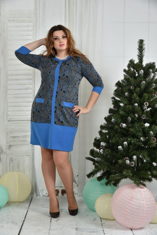 Модное платье больших размеров 0370 синее