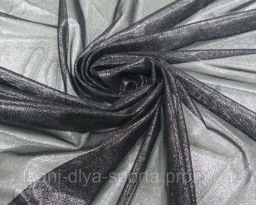 Стрейч-сетка черная с серебряным напылением