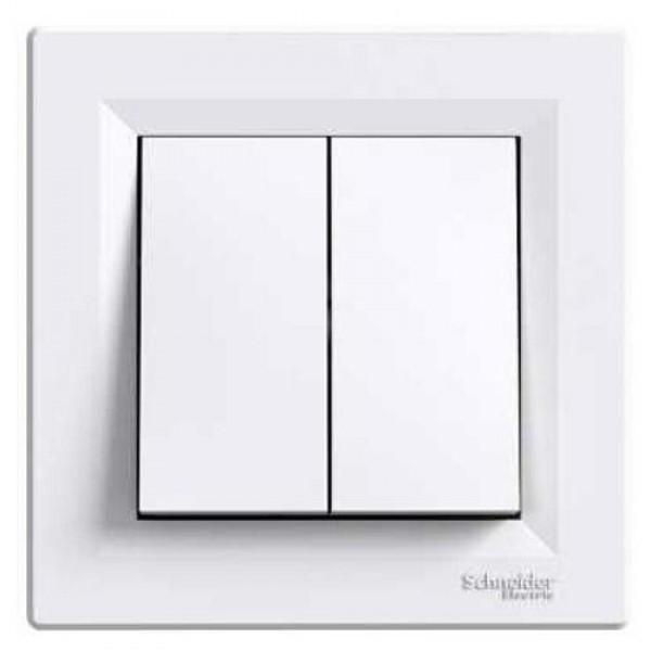 SHNEIDER ELECTRIC ASFORA Выключатель 2-х клавишный Белый
