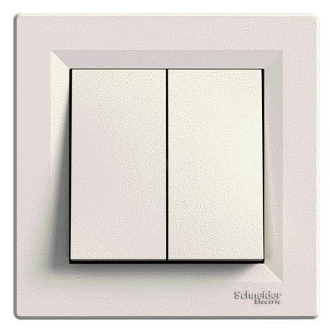 SHNEIDER ELECTRIC ASFORA Выключатель 2-х клавишный Крем
