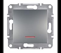 SHNEIDER ELECTRIC ASFORA Выключатель кнопочный  с подсветкой Сталь