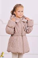 Куртка-пальто зимняя для девочки бежевый размер 110-128