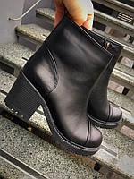 Удобные зимние женские ботинки кожаные толстый низкий каблук
