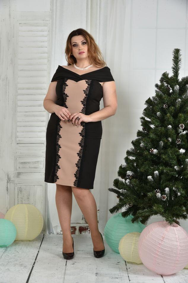 Милое платье больших размеров 0375 бежевая вставка