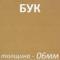 Фанера шпонированная 2500х1250х6мм - Бук (1 сторона)
