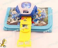 Набор подарочный Смурфики - кошелек и часы с проектором