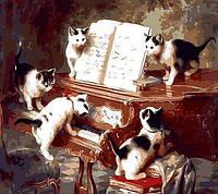 Кошачий концерт. Раскраска по номерам