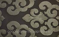 """Ткань жаккардовая для штор в стиле Арт-деко с крупным рисунком """"Glansy class"""" коричневая."""