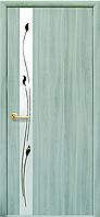 """Двери межкомнатные экошпон с матовым зеркалом и прозрачным контуром """"ЗЛАТА"""""""