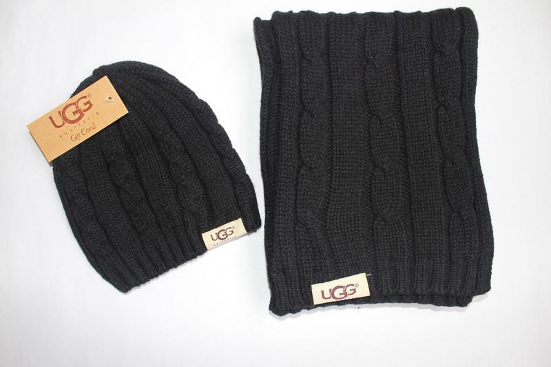 Разные цвета Ugg шапка + шарф вязаные для взрослых и подростков хлопок угг
