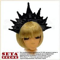 Корона Чёрная королева черная с вензелями карнавальная