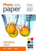 Бумага ColorWay глянцевая, 180 г/м, A4, 100 л, картонная упаковка (PG180100A4)