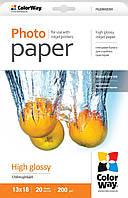 Бумага ColorWay глянцевая, 200 г/м2, 13х18, 20 л, картонная упаковка (PG2000205R)