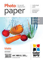 Бумага ColorWay матовая, 135 г/м2, А4, 100 л (PM135100A4)