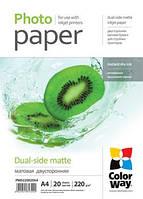 Бумага ColorWay матовая, двухсторонняя, 220 г/м, A4, 20 л (PMD220020A4)