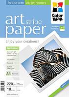 Бумага ColorWay матовая, с тесненной фактурой имитации полосок, 220 г/м2, A4, 10 л (PMA220010SA4)