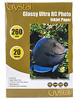 Фотобумага Crystal глянец, A4, 260 г/м, 20 шт, пластиковое покрытие