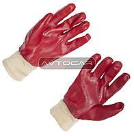 Перчатки вязаные с латексным покрытием / цвет: красный