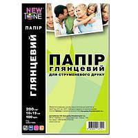 Бумага фото NewTone, глянцевая, 200 г/м2, A6 (10x15), 100л (G200.F100N)