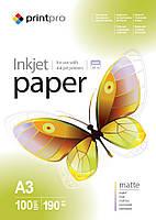 Фотобумага PrintPro матовая, A3, 190 г/м, 100 шт (PME190100A3)